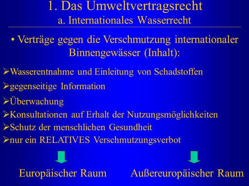 1. Das Umweltvertragsrecht a. Internationales Wasserrecht Europäischer RaumAußereuropäischer Raum Verträge gegen die Verschmutzung internationaler Bin