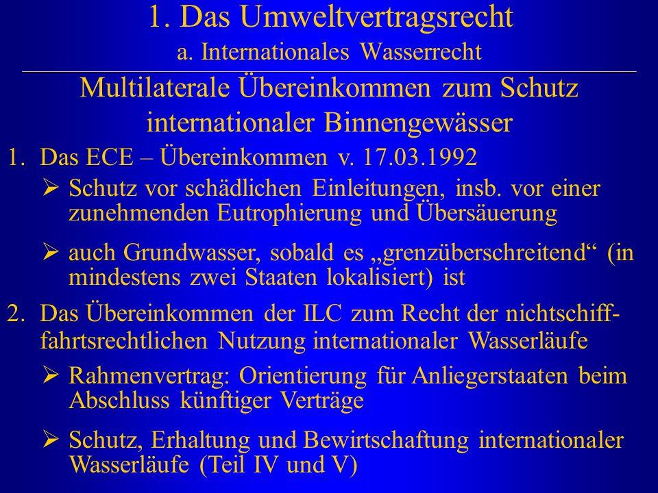1. Das Umweltvertragsrecht a. Internationales Wasserrecht Multilaterale Übereinkommen zum Schutz internationaler Binnengewässer 1.Das ECE – Übereinkom