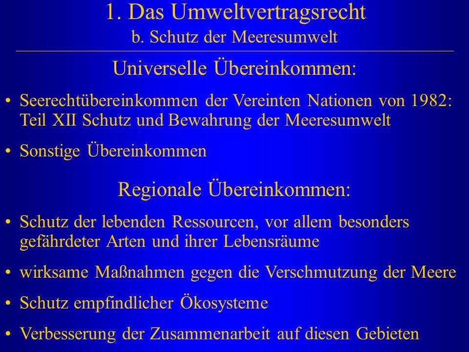 1. Das Umweltvertragsrecht b. Schutz der Meeresumwelt Universelle Übereinkommen: Seerechtübereinkommen der Vereinten Nationen von 1982: Teil XII Schut