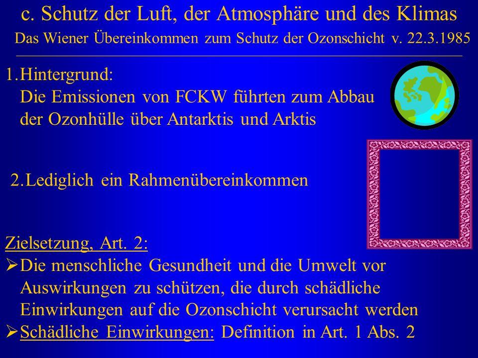 c. Schutz der Luft, der Atmosphäre und des Klimas Das Wiener Übereinkommen zum Schutz der Ozonschicht v. 22.3.1985 1.Hintergrund: Die Emissionen von F