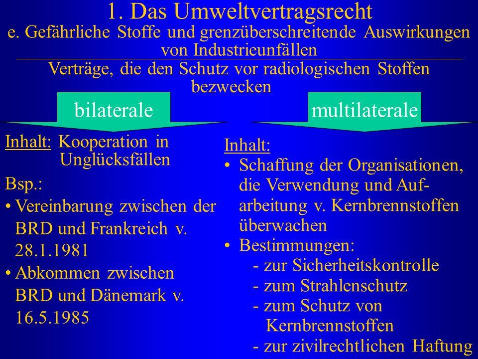 1. Das Umweltvertragsrecht e. Gefährliche Stoffe und grenzüberschreitende Auswirkungen von Industrieunfällen Verträge, die den Schutz vor radiologisch