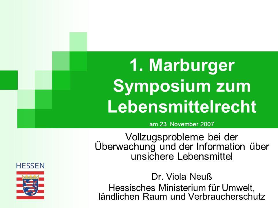 1. Marburger Symposium zum Lebensmittelrecht am 23. November 2007 Vollzugsprobleme bei der Überwachung und der Information über unsichere Lebensmittel