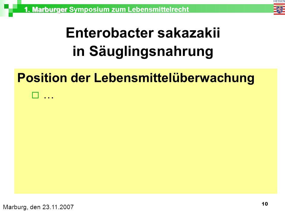 1. Marburger 1. Marburger Symposium zum Lebensmittelrecht Marburg, den 23.11.2007 10 Enterobacter sakazakii in Säuglingsnahrung Position der Lebensmit