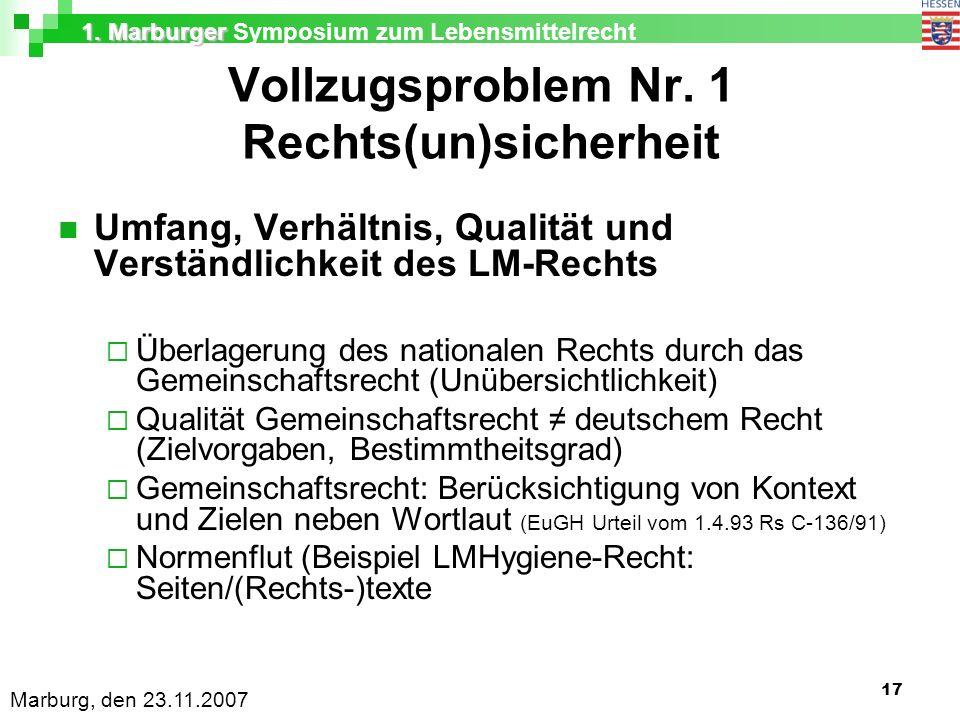 1. Marburger 1. Marburger Symposium zum Lebensmittelrecht Marburg, den 23.11.2007 17 Vollzugsproblem Nr. 1 Rechts(un)sicherheit Umfang, Verhältnis, Qu