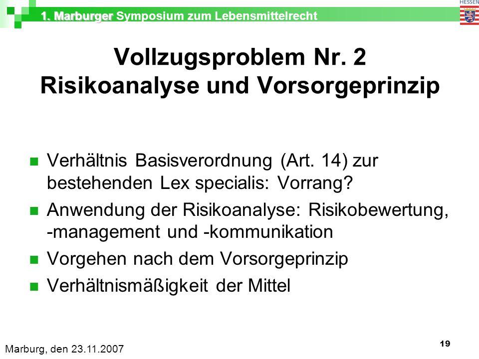 1. Marburger 1. Marburger Symposium zum Lebensmittelrecht Marburg, den 23.11.2007 19 Vollzugsproblem Nr. 2 Risikoanalyse und Vorsorgeprinzip Verhältni