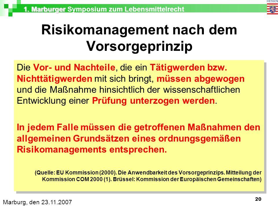 1. Marburger 1. Marburger Symposium zum Lebensmittelrecht Marburg, den 23.11.2007 20 Risikomanagement nach dem Vorsorgeprinzip Die Vor- und Nachteile,