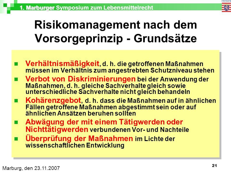 1. Marburger 1. Marburger Symposium zum Lebensmittelrecht Marburg, den 23.11.2007 21 Risikomanagement nach dem Vorsorgeprinzip - Grundsätze Verhältnis