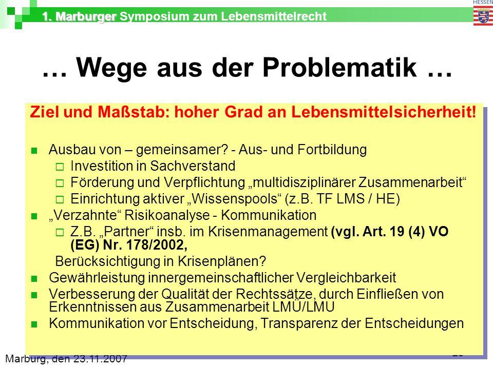 1. Marburger 1. Marburger Symposium zum Lebensmittelrecht Marburg, den 23.11.2007 23 … Wege aus der Problematik … Ziel und Maßstab: hoher Grad an Lebe