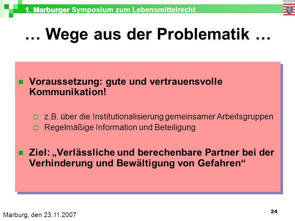 1. Marburger 1. Marburger Symposium zum Lebensmittelrecht Marburg, den 23.11.2007 24 … Wege aus der Problematik … Voraussetzung: gute und vertrauensvo