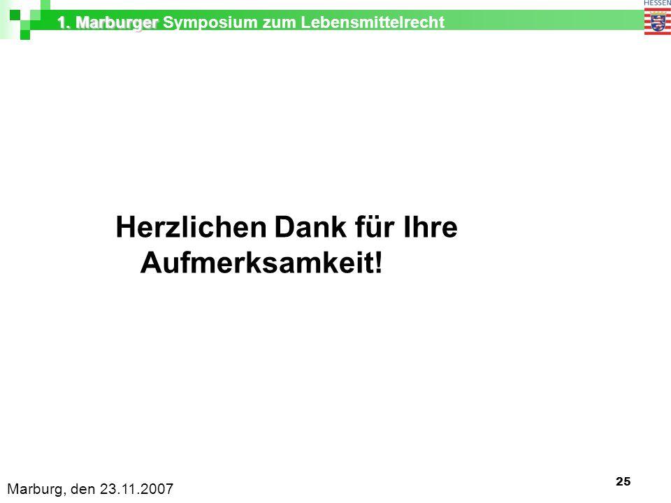 1. Marburger 1. Marburger Symposium zum Lebensmittelrecht Marburg, den 23.11.2007 25 Herzlichen Dank für Ihre Aufmerksamkeit!