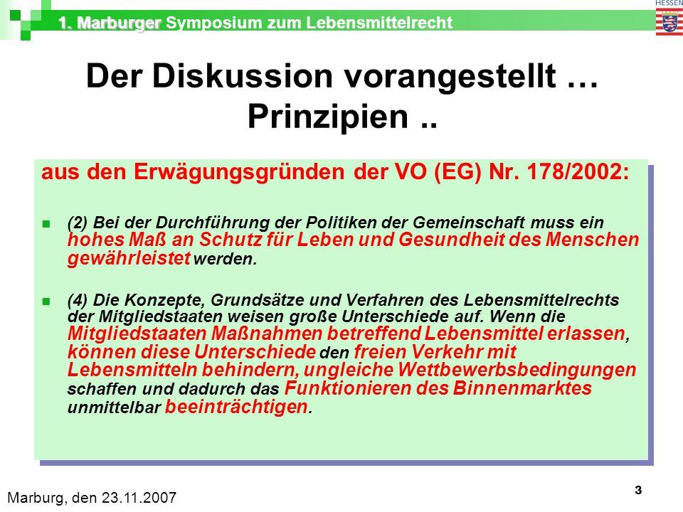 1. Marburger 1. Marburger Symposium zum Lebensmittelrecht Marburg, den 23.11.2007 3 Der Diskussion vorangestellt … Prinzipien.. aus den Erwägungsgründ