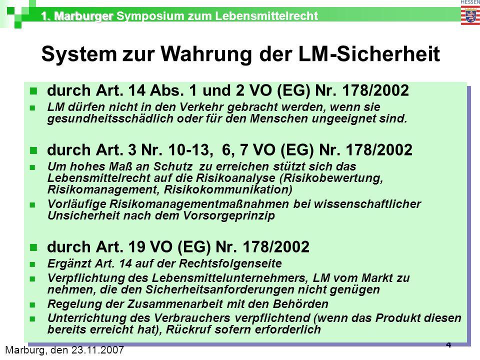 1. Marburger 1. Marburger Symposium zum Lebensmittelrecht Marburg, den 23.11.2007 4 System zur Wahrung der LM-Sicherheit durch Art. 14 Abs. 1 und 2 VO
