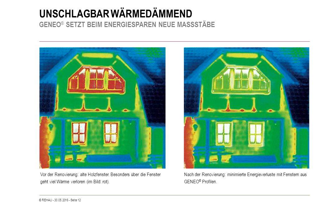 © REHAU - 30.05.2016 - Seite 12 UNSCHLAGBAR WÄRMEDÄMMEND GENEO ® SETZT BEIM ENERGIESPAREN NEUE MASSSTÄBE Vor der Renovierung: alte Holzfenster. Besond