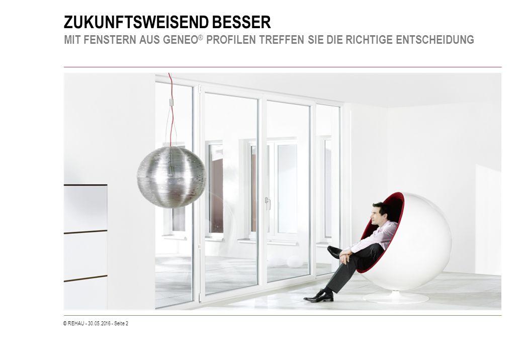 © REHAU - 30.05.2016 - Seite 33 PERFEKTES FENSTERDESIGN TECHNISCHE DETAILS Flügeldesign -Designflügel flächenversetzt 10