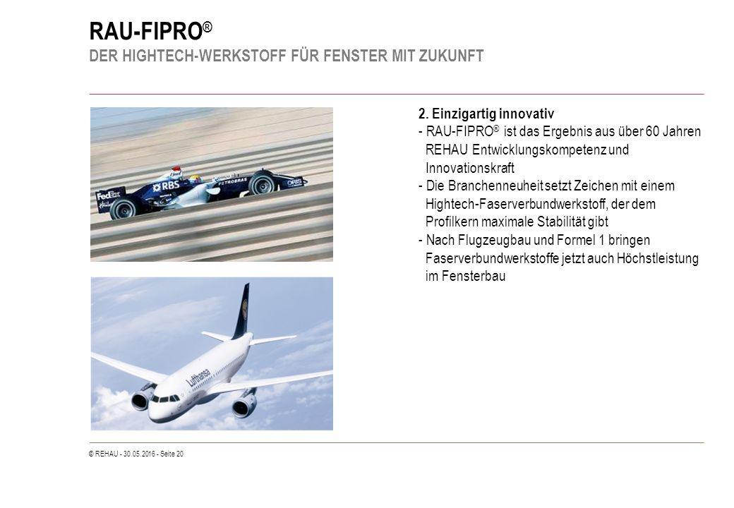 © REHAU - 30.05.2016 - Seite 20 RAU-FIPRO ® DER HIGHTECH-WERKSTOFF FÜR FENSTER MIT ZUKUNFT 2.