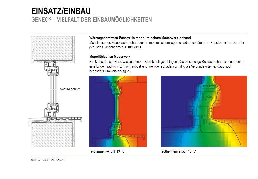 © REHAU - 30.05.2016 - Seite 41 EINSATZ/EINBAU GENEO ® – VIELFALT DER EINBAUMÖGLICHKEITEN Wärmegedämmtes Fenster in monolithischem Mauerwerk sitzend Monolithisches Mauerwerk schafft zusammen mit einem optimal wärmegedämmten Fenstersystem ein sehr gesundes, angenehmes Raumklima.
