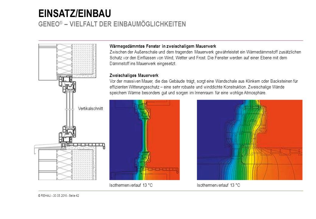 © REHAU - 30.05.2016 - Seite 42 EINSATZ/EINBAU GENEO ® – VIELFALT DER EINBAUMÖGLICHKEITEN Wärmegedämmtes Fenster in zweischaligem Mauerwerk Zwischen der Außenschale und dem tragenden Mauerwerk gewährleistet ein Wärmedämmstoff zusätzlichen Schutz vor den Einflüssen von Wind, Wetter und Frost.