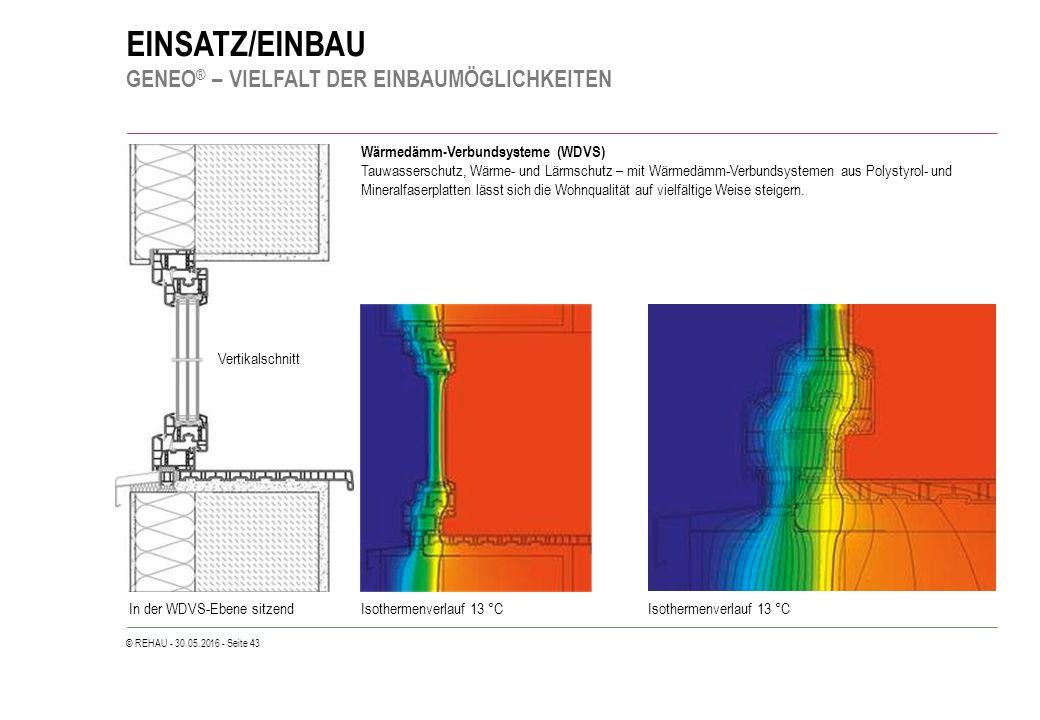 © REHAU - 30.05.2016 - Seite 43 EINSATZ/EINBAU GENEO ® – VIELFALT DER EINBAUMÖGLICHKEITEN Wärmedämm-Verbundsysteme (WDVS) Tauwasserschutz, Wärme- und Lärmschutz – mit Wärmedämm-Verbundsystemen aus Polystyrol- und Mineralfaserplatten lässt sich die Wohnqualität auf vielfältige Weise steigern.
