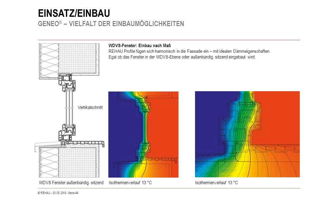 © REHAU - 30.05.2016 - Seite 44 EINSATZ/EINBAU GENEO ® – VIELFALT DER EINBAUMÖGLICHKEITEN WDVS-Fenster: Einbau nach Maß REHAU Profile fügen sich harmo