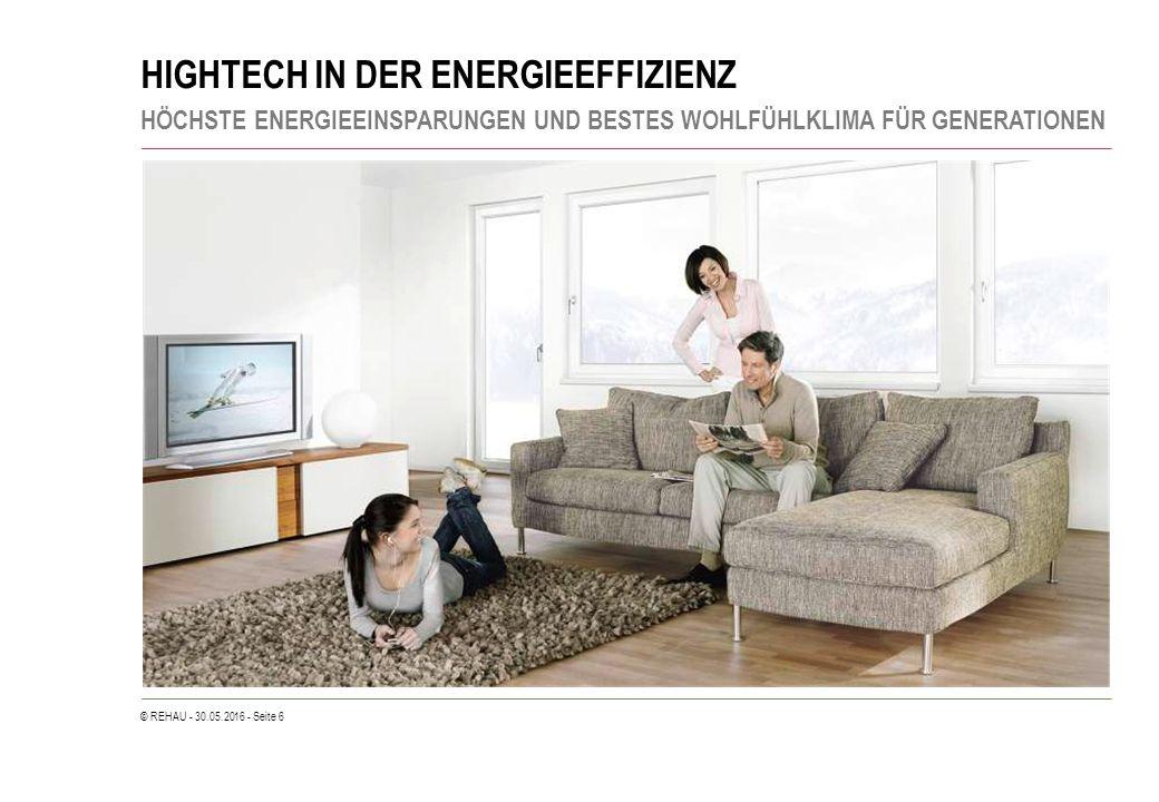 © REHAU - 30.05.2016 - Seite 6 HIGHTECH IN DER ENERGIEEFFIZIENZ HÖCHSTE ENERGIEEINSPARUNGEN UND BESTES WOHLFÜHLKLIMA FÜR GENERATIONEN