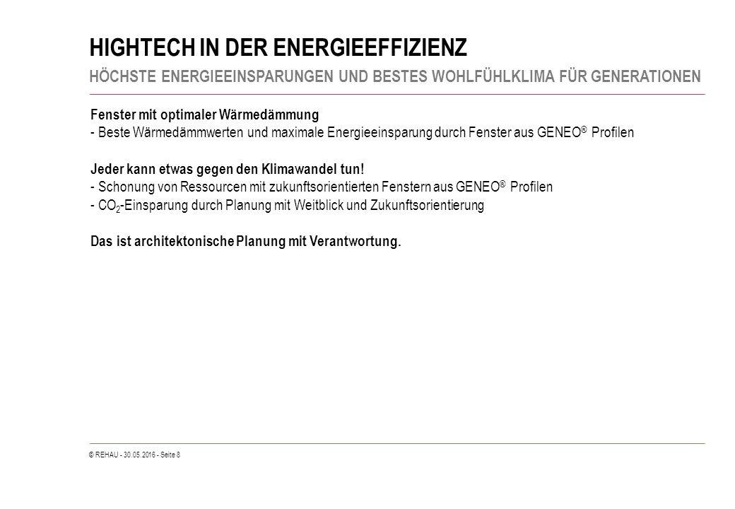 © REHAU - 30.05.2016 - Seite 8 HIGHTECH IN DER ENERGIEEFFIZIENZ HÖCHSTE ENERGIEEINSPARUNGEN UND BESTES WOHLFÜHLKLIMA FÜR GENERATIONEN Fenster mit opti