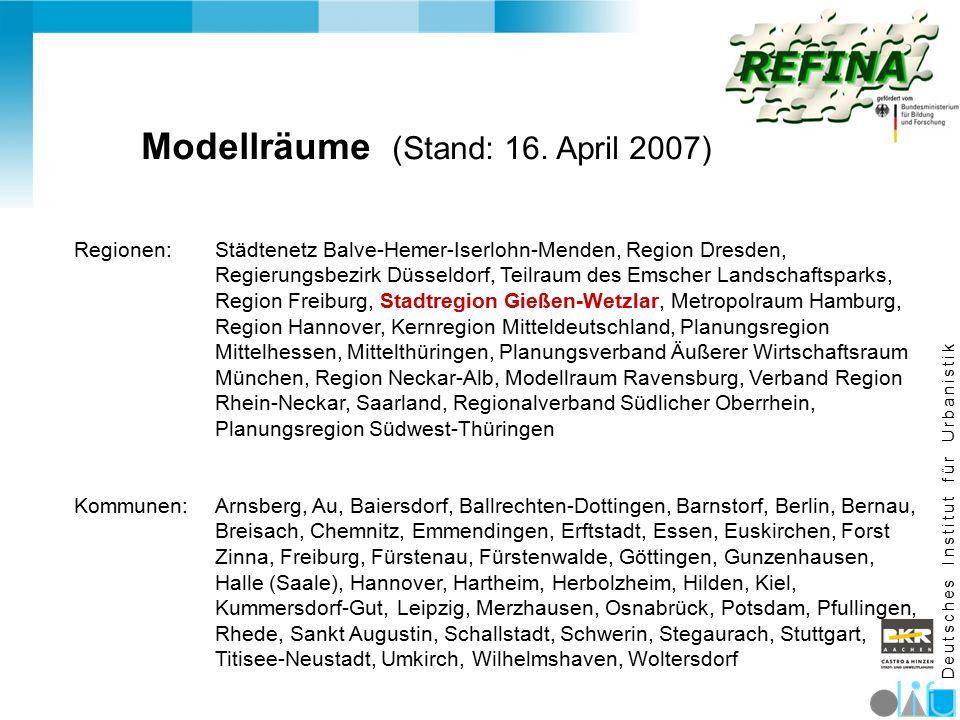 D e u t s c h e s I n s t i t u t f ü r U r b a n i s t i k Modellräume (Stand: 16. April 2007) Regionen: Städtenetz Balve-Hemer-Iserlohn-Menden, Regi