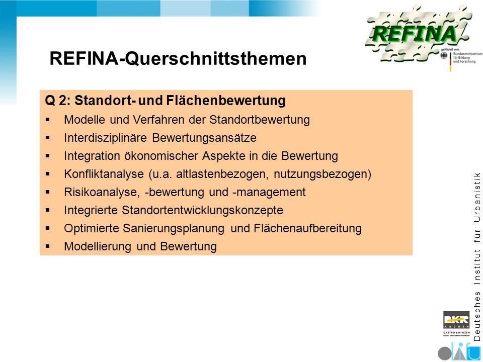D e u t s c h e s I n s t i t u t f ü r U r b a n i s t i k REFINA-Querschnittsthemen Q 2: Standort- und Flächenbewertung  Modelle und Verfahren der