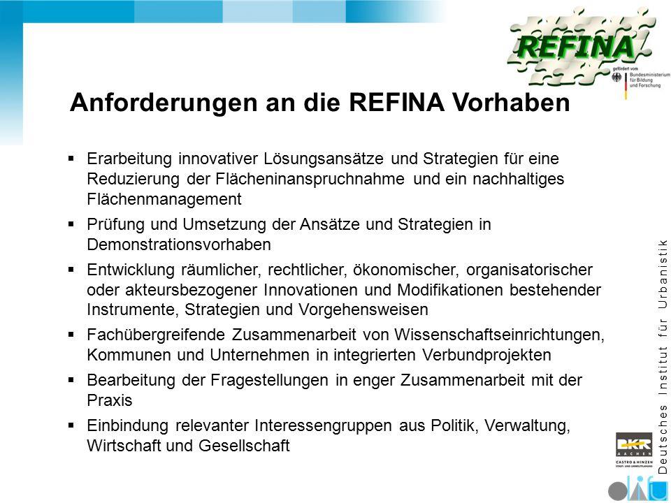 D e u t s c h e s I n s t i t u t f ü r U r b a n i s t i k Anforderungen an die REFINA Vorhaben  Erarbeitung innovativer Lösungsansätze und Strategi