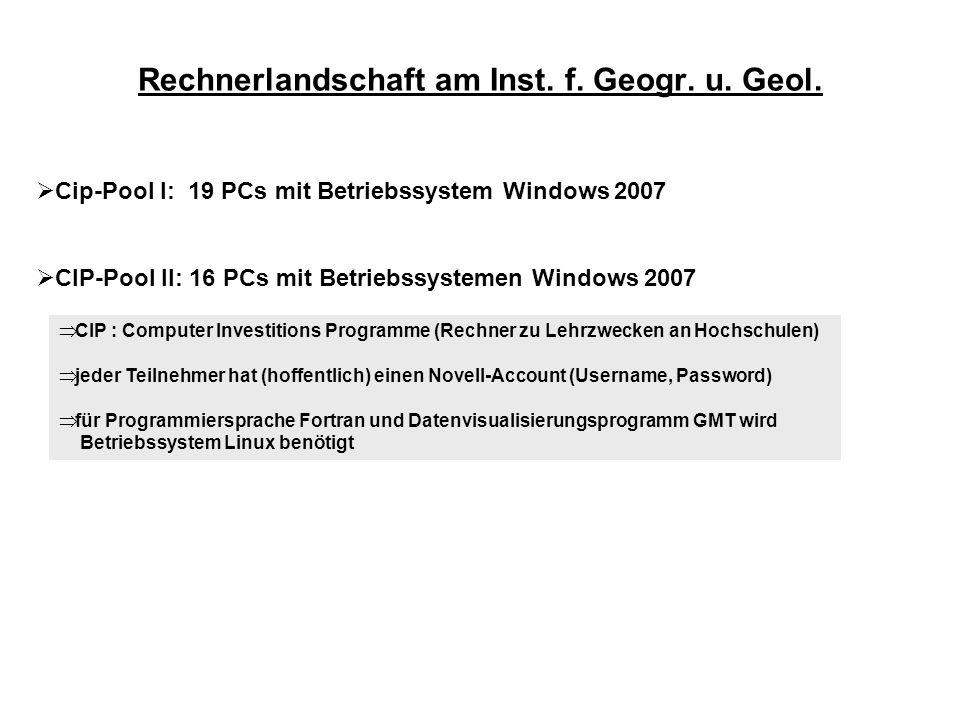 Rechnerlandschaft am Inst. f. Geogr. u. Geol.