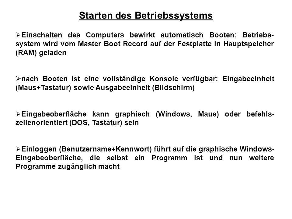 Starten des Betriebssystems  Einschalten des Computers bewirkt automatisch Booten: Betriebs- system wird vom Master Boot Record auf der Festplatte in Hauptspeicher (RAM) geladen  nach Booten ist eine vollständige Konsole verfügbar: Eingabeeinheit (Maus+Tastatur) sowie Ausgabeeinheit (Bildschirm)  Eingabeoberfläche kann graphisch (Windows, Maus) oder befehls- zeilenorientiert (DOS, Tastatur) sein  Einloggen (Benutzername+Kennwort) führt auf die graphische Windows- Eingabeoberfläche, die selbst ein Programm ist und nun weitere Programme zugänglich macht