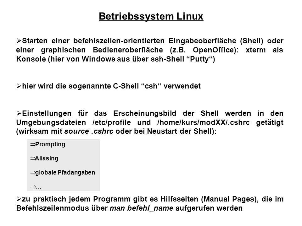 Betriebssystem Linux  Starten einer befehlszeilen-orientierten Eingabeoberfläche (Shell) oder einer graphischen Bedieneroberfläche (z.B.