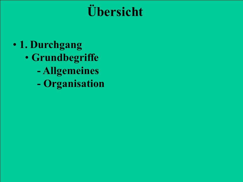1. Durchgang Grundbegriffe - Allgemeines - Organisation Übersicht