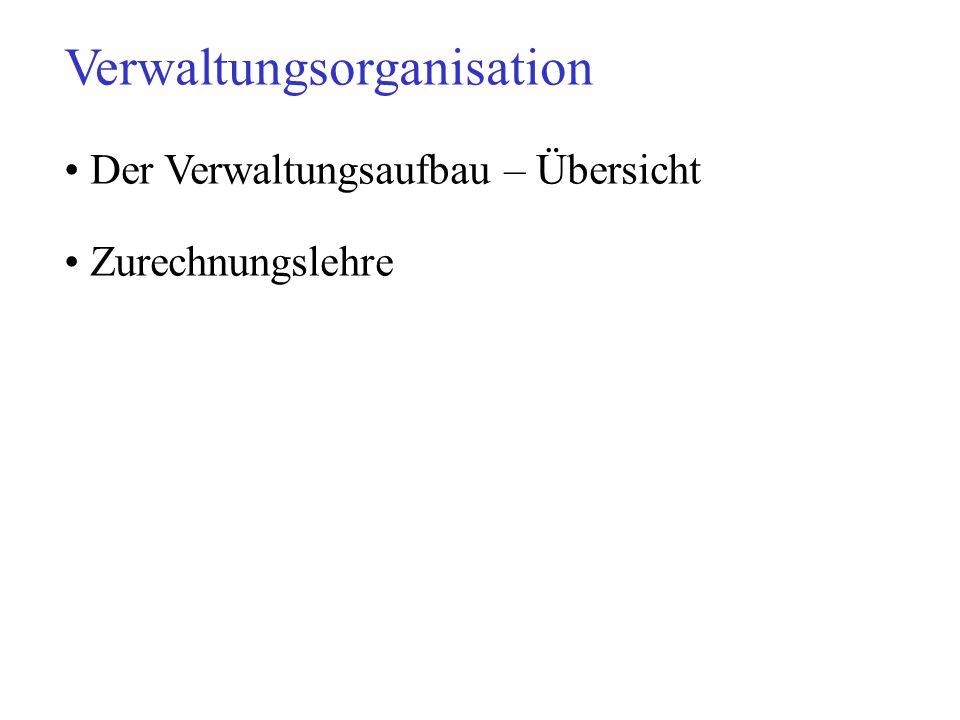 Verwaltungsorganisation Der Verwaltungsaufbau – Übersicht Zurechnungslehre