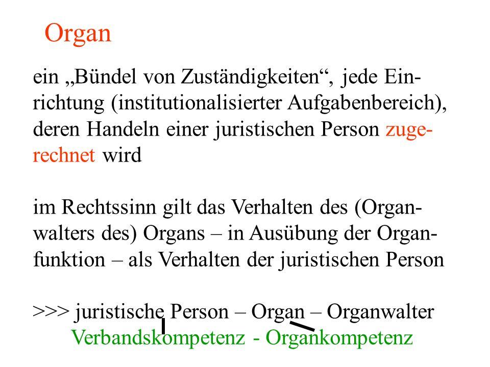 """Organ ein """"Bündel von Zuständigkeiten , jede Ein- richtung (institutionalisierter Aufgabenbereich), deren Handeln einer juristischen Person zuge- rechnet wird im Rechtssinn gilt das Verhalten des (Organ- walters des) Organs – in Ausübung der Organ- funktion – als Verhalten der juristischen Person >>> juristische Person – Organ – Organwalter Verbandskompetenz - Organkompetenz"""