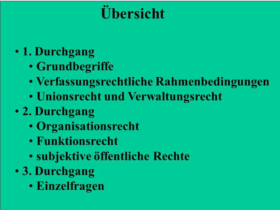1. Durchgang Grundbegriffe Verfassungsrechtliche Rahmenbedingungen Unionsrecht und Verwaltungsrecht 2. Durchgang Organisationsrecht Funktionsrecht sub