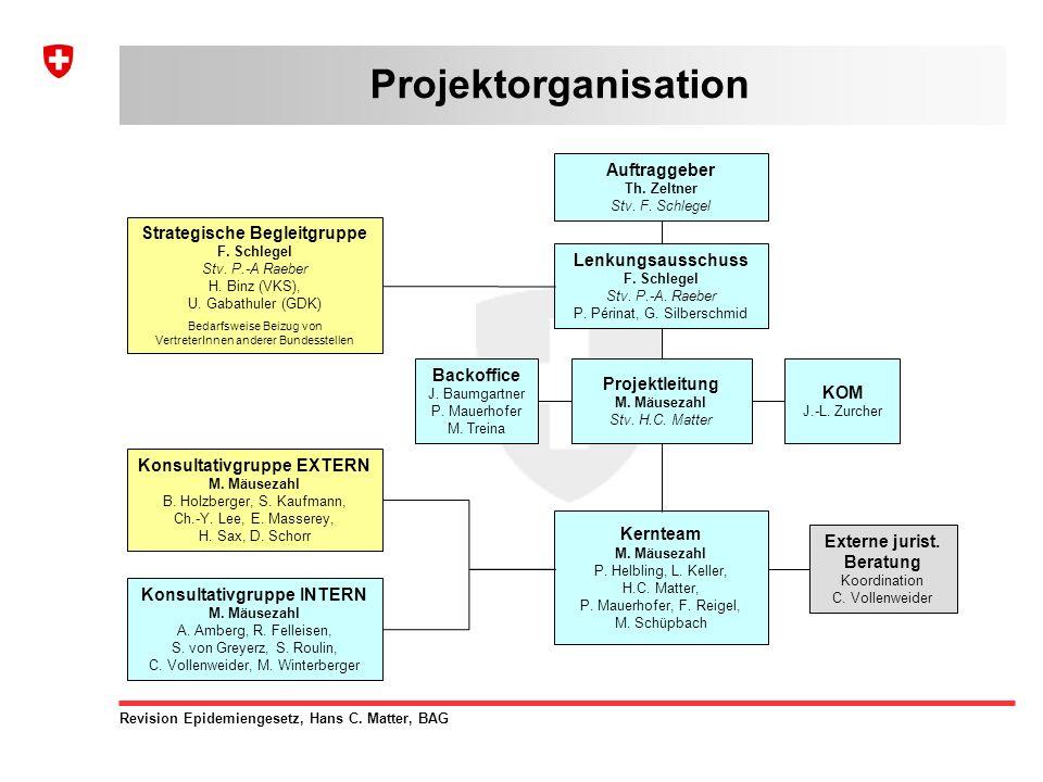 Revision Epidemiengesetz, Hans C. Matter, BAG Projektorganisation Strategische Begleitgruppe F.