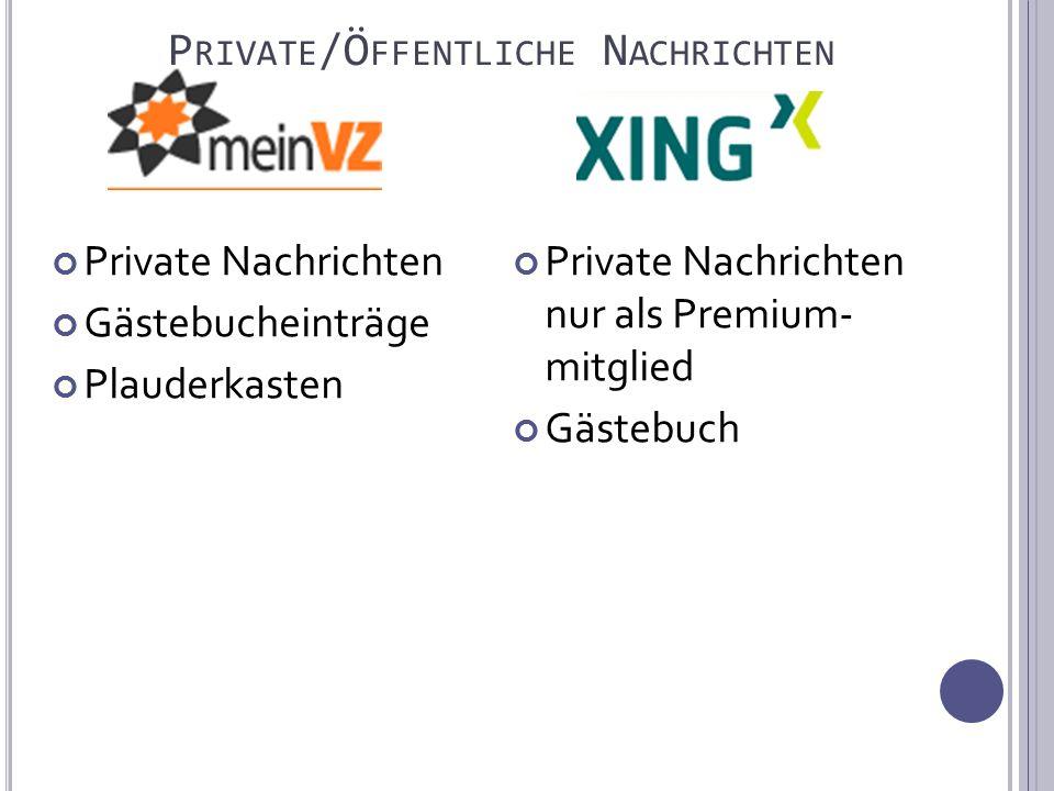 P RIVATE /Ö FFENTLICHE N ACHRICHTEN Private Nachrichten Gästebucheinträge Plauderkasten Private Nachrichten nur als Premium- mitglied Gästebuch