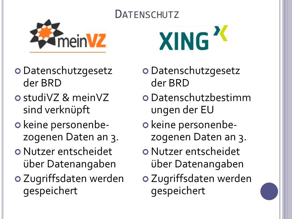 D ATENSCHUTZ Datenschutzgesetz der BRD studiVZ & meinVZ sind verknüpft keine personenbe- zogenen Daten an 3.