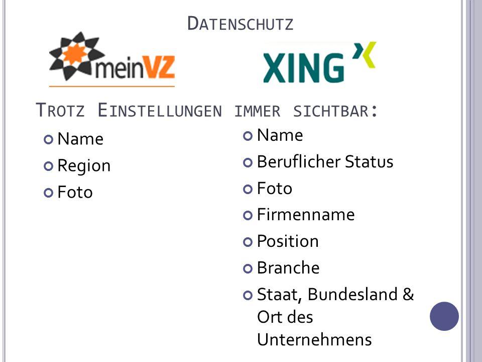 Name Region Foto D ATENSCHUTZ Name Beruflicher Status Foto Firmenname Position Branche Staat, Bundesland & Ort des Unternehmens T ROTZ E INSTELLUNGEN IMMER SICHTBAR :