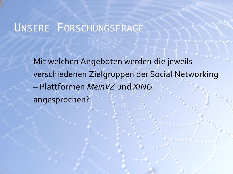 U NSERE F ORSCHUNGSFRAGE Mit welchen Angeboten werden die jeweils verschiedenen Zielgruppen der Social Networking – Plattformen MeinVZ und XING angesprochen