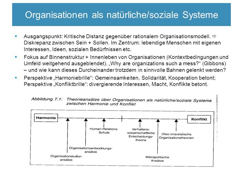 Organisationen als natürliche/soziale Systeme  Ausgangspunkt: Kritische Distanz gegenüber rationalem Organisationsmodell.