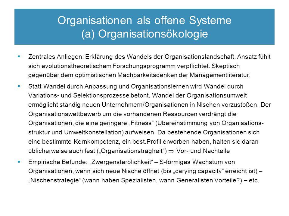 Organisationen als offene Systeme (a) Organisationsökologie  Zentrales Anliegen: Erklärung des Wandels der Organisationslandschaft.