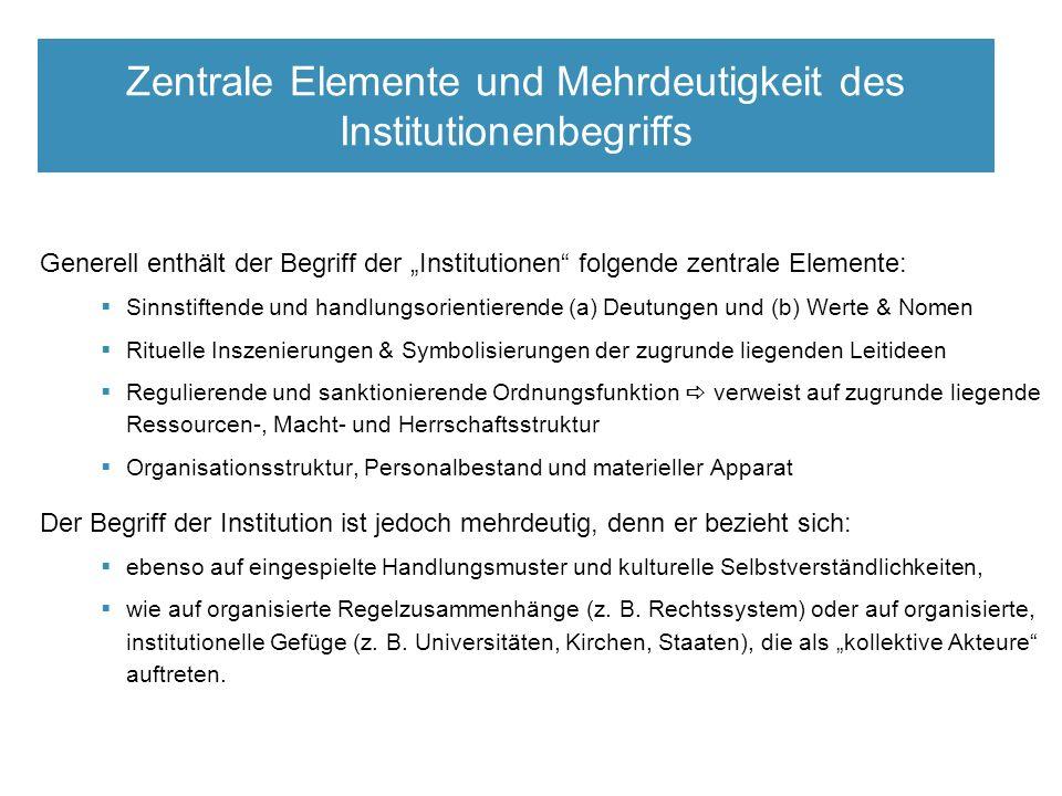 Zentrale Elemente der neo-inst.