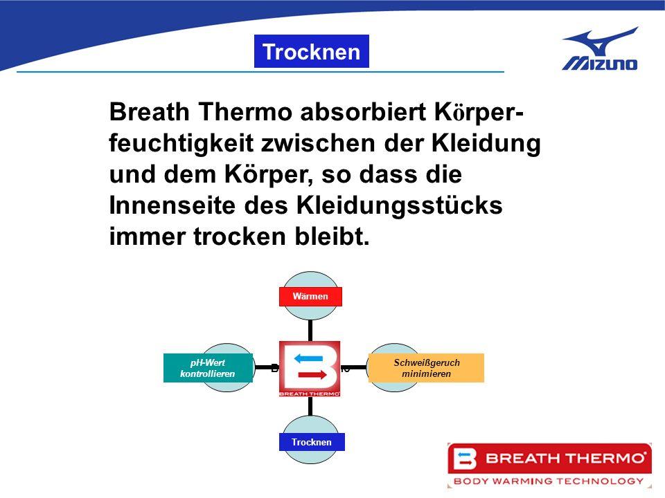 Trocknen Breath Thermo absorbiert K ö rper- feuchtigkeit zwischen der Kleidung und dem Körper, so dass die Innenseite des Kleidungsstücks immer trocken bleibt.
