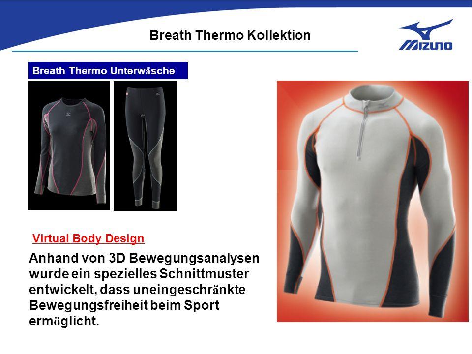 Breath Thermo Kollektion Breath Thermo Unterw ä sche Virtual Body Design Anhand von 3D Bewegungsanalysen wurde ein spezielles Schnittmuster entwickelt, dass uneingeschr ä nkte Bewegungsfreiheit beim Sport erm ö glicht.