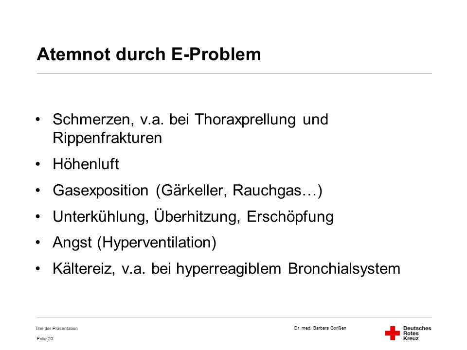 Dr. med. Barbara Gorißen Folie 20 Atemnot durch E-Problem Schmerzen, v.a.