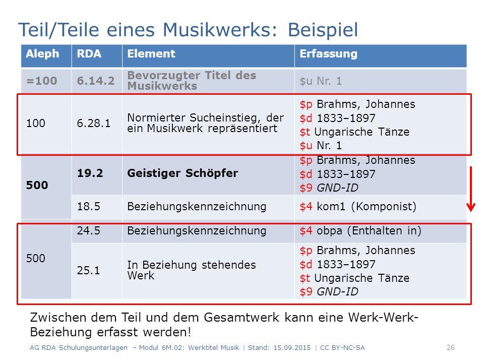 26 AlephRDAElementErfassung =1006.14.2 Bevorzugter Titel des Musikwerks $u Nr.