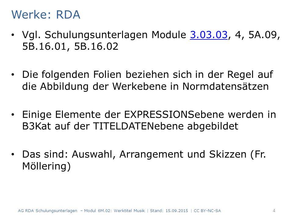 Werke: RDA Vgl.