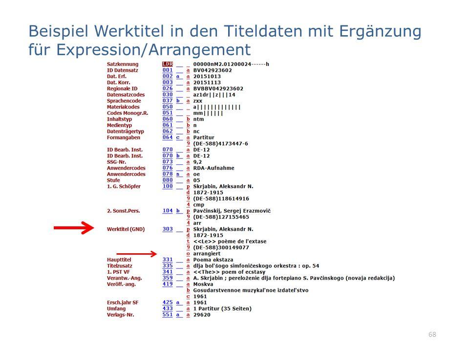 Beispiel Werktitel in den Titeldaten mit Ergänzung für Expression/Arrangement 68