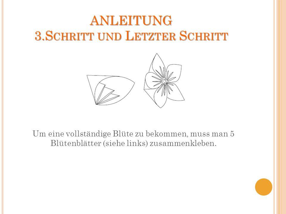 ANLEITUNG 3.S CHRITT UND L ETZTER S CHRITT Um eine vollständige Blüte zu bekommen, muss man 5 Blütenblätter (siehe links) zusammenkleben.